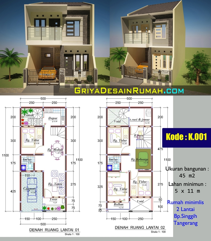 Paket Jasa Desain Arsitek: Rumah Minimalis 2 Lantai Bpk.Singgih Di Tangerang