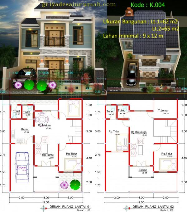 Denah Rumah Minimalis Mewah 2 Lantai