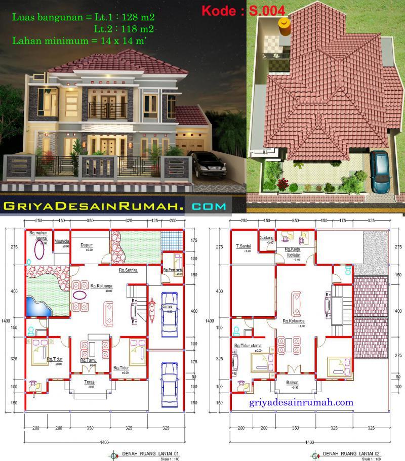 denah rumah mewah 2 lantai jasa desain rumah