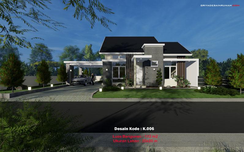 Desain rumah 1 lantai cantik lebar 10x12 meter