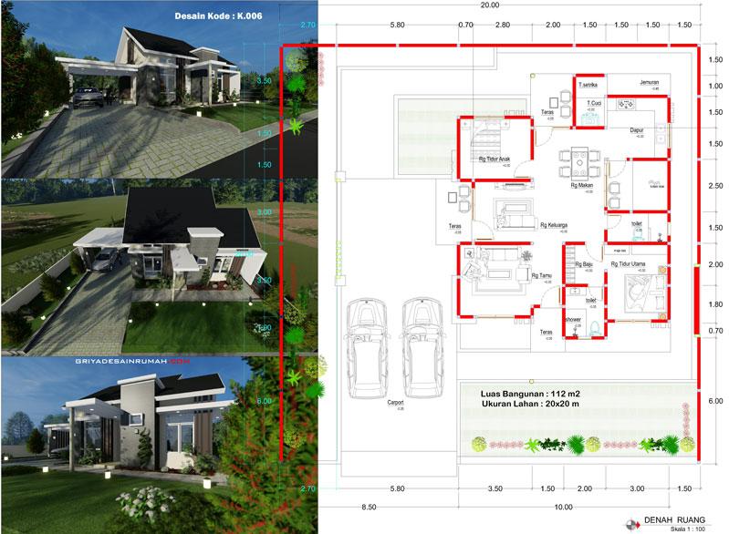 gambar denah rumah 1 lantai 2 kamar tidur ukuran 10x12 meter