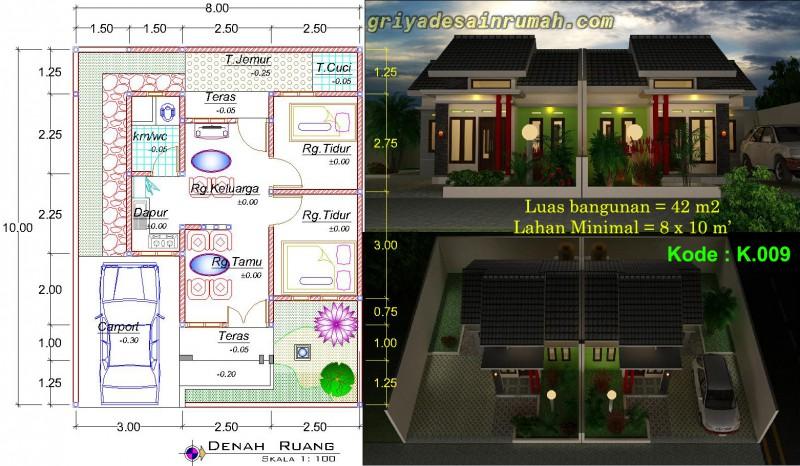 Denah Rumah Minimalis Modern 1 Lantai 2 Kamar Tidur