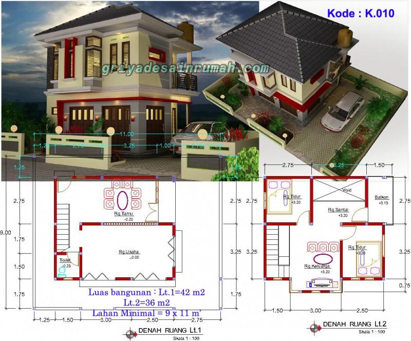 Denah Rumah Toko Mewah 2 Lantai
