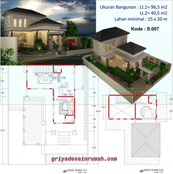 Denah Desain Villa 2 Lantai
