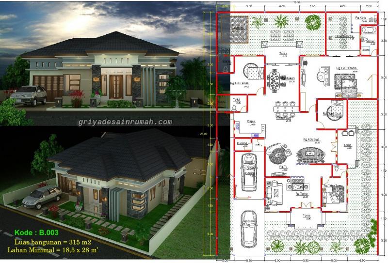 denah Rumah 1 Lantai Megah Besar