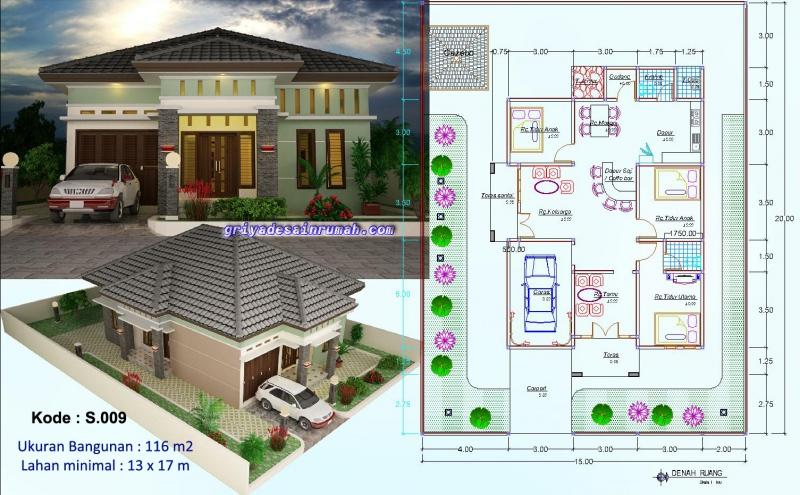 Denah Desain Rumah 1 Lantai 3 Kamar Tidur