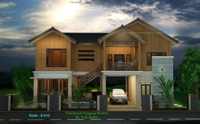 Gambar Desain Rumah Villa Kayu Panggung 2 Lantai Tropis Modern