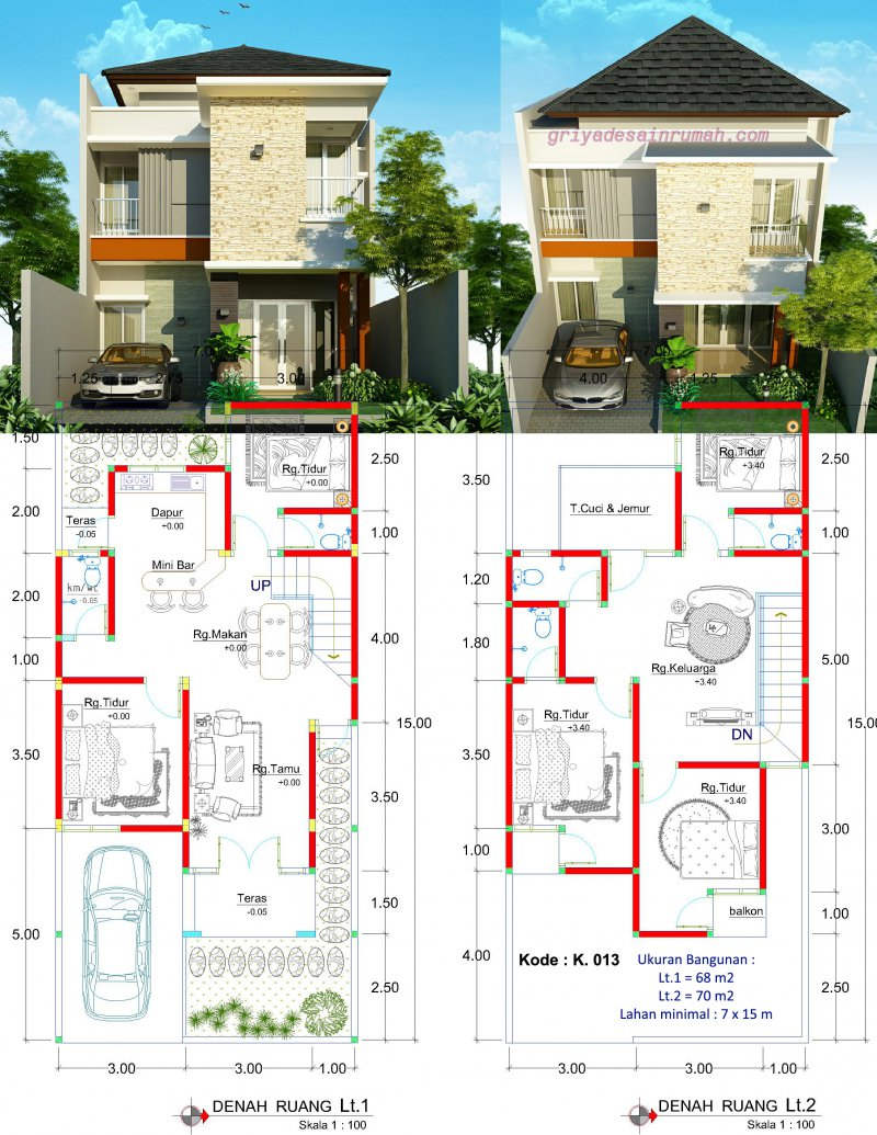 Desain Rumah Minimalis 2 Lantai Lebar 7m Jasa Desain Rumah