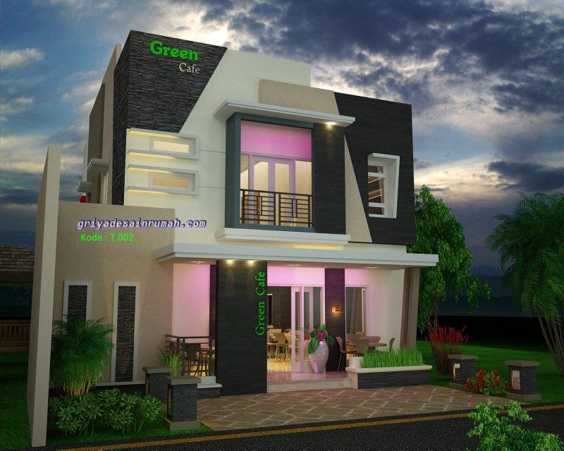 Desain Cafe Restoran Minimalis Modern 2 Lantai