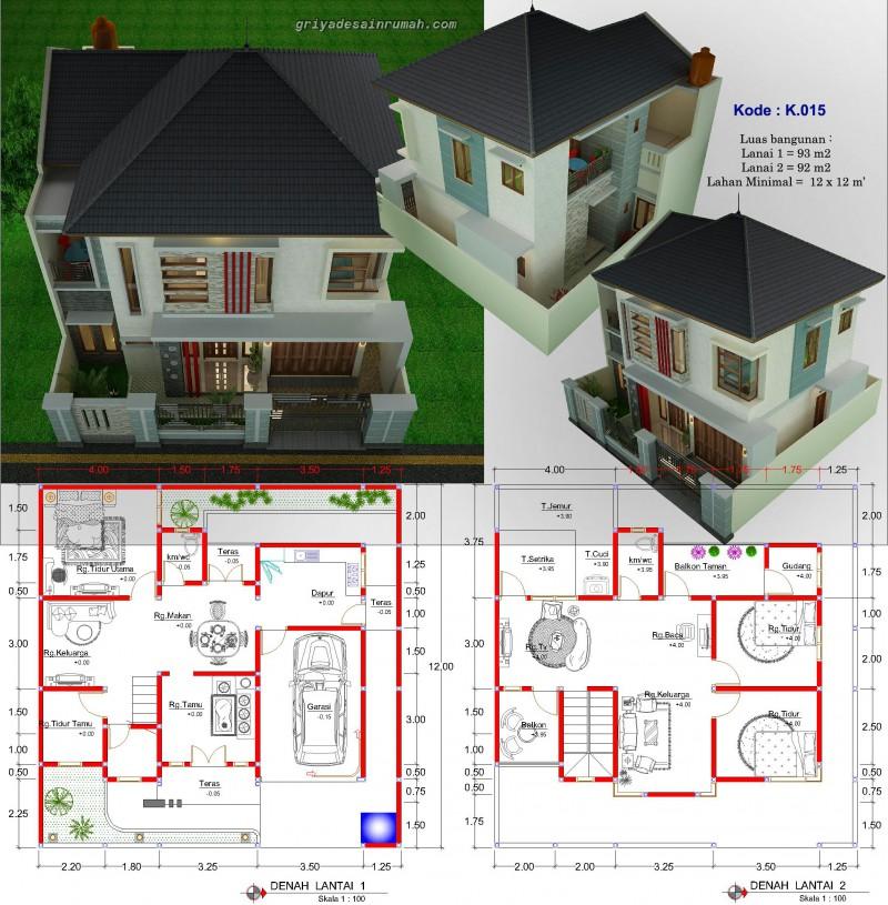 Rumah 2 Lantai 12 X 12 M 4 Kamar Tidur Jasa Desain Rumah