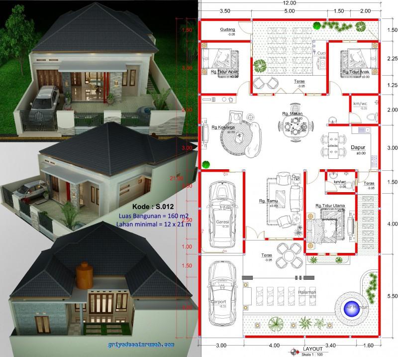 Gambar Denah Rumah Type 160 1 Lantai