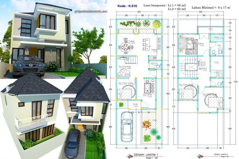 Gambar Denah Rumah 2 Lantai Lebar 6 Meter
