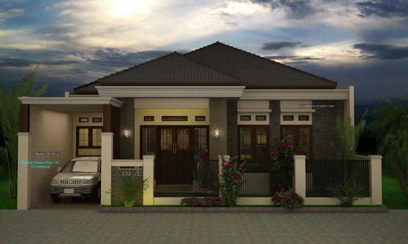 Desain Rumah 1 Lantai Klasik Type 140 Lebar 11 Meter