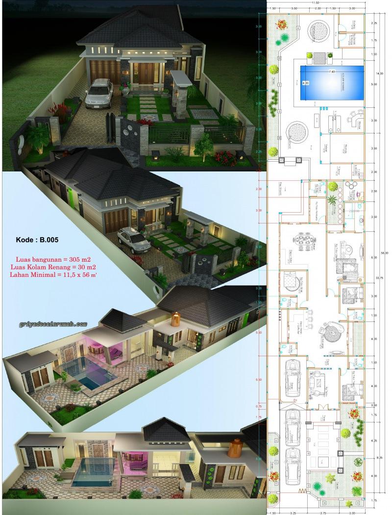 Gambar Denah Rumah 1 Lantai Kolam Renang Taman Minimalis