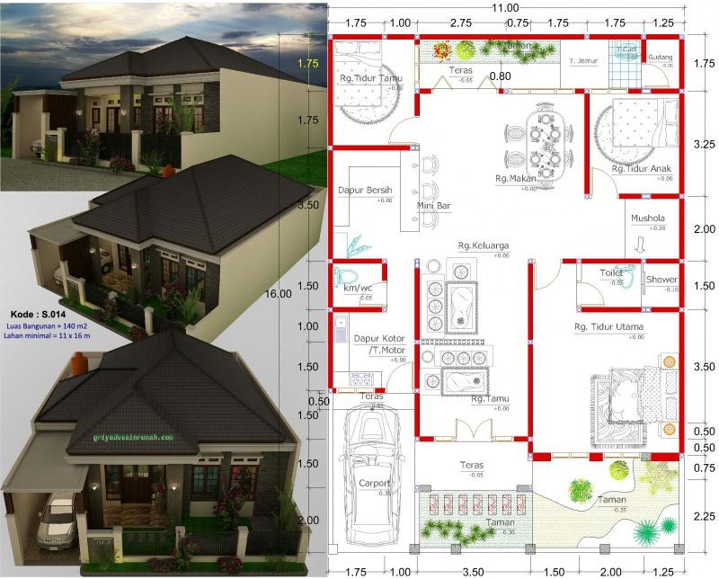 Gambar Denah Rumah 1 Lantai Type 140 Lebar 11 Meter 3 Kamar Tidur