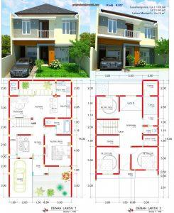 desain rumah lebar 8 x 15 meter 2 lantai minimalis | jasa