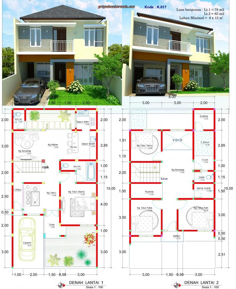 Desain Rumah Lebar 8 15 Meter 2 Lantai Minimalis Jasa