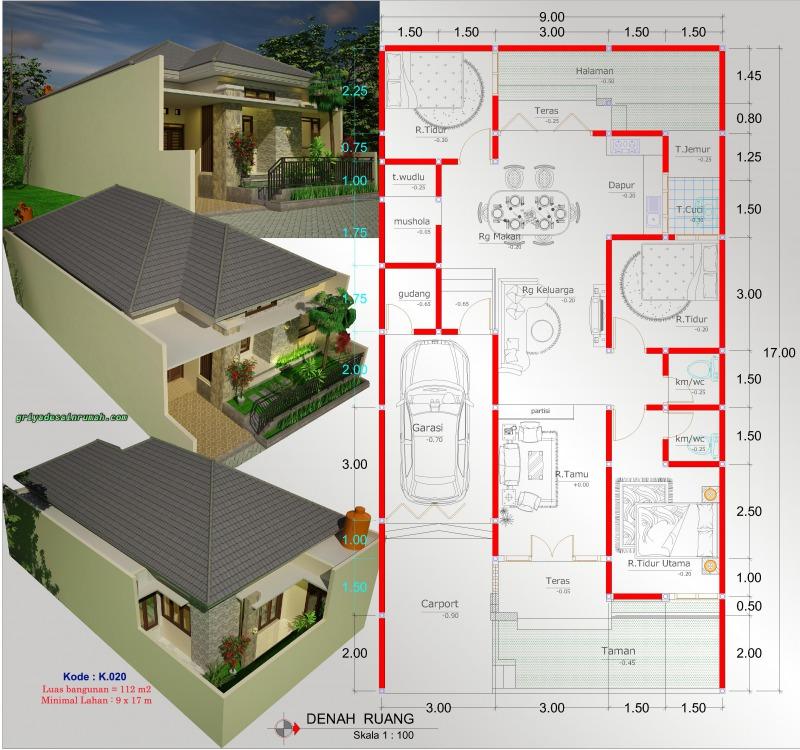 Gambar Denah Rumah Lebar 9 Meter 1 Lantai 3 Kamar Tidur