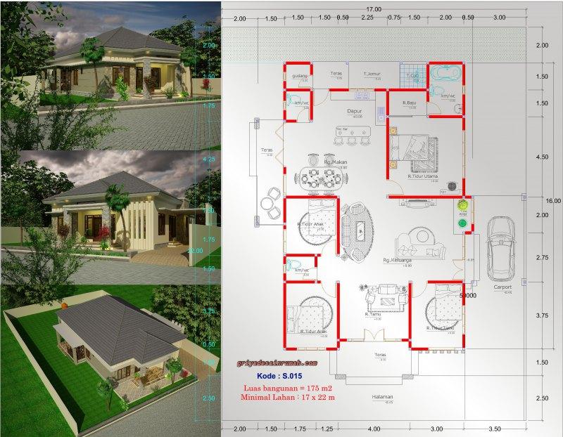 Gambar Denah Rumah Type 175 4 Kamar Tidur 1 Lantai