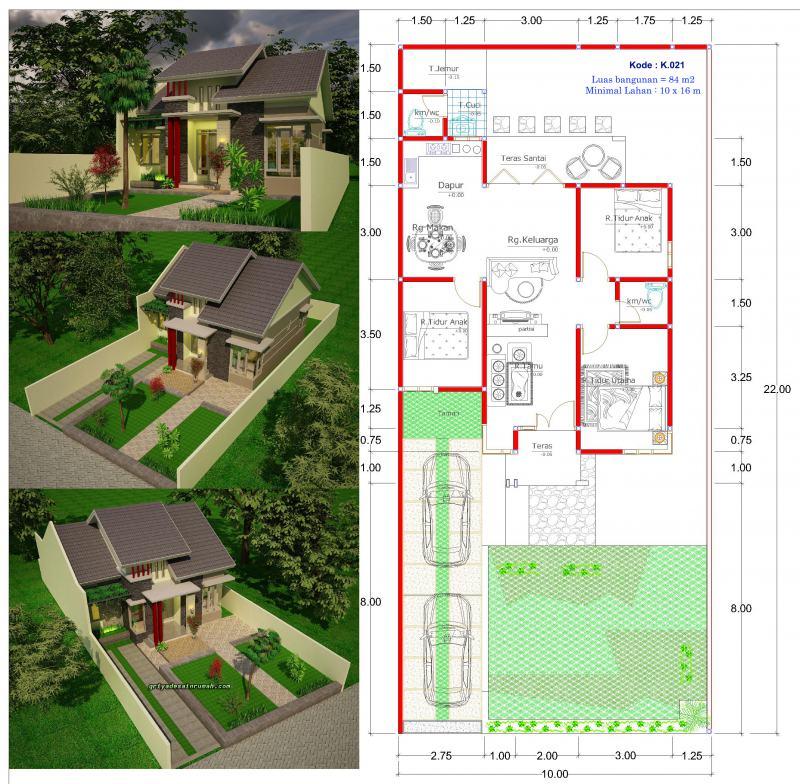 Denah Gambar Rumah 1 Lantai Type 84 Lebar 10 Meter 3 Kamar Tidur