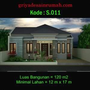 Desain Rumah Type 120 Lebar 12 m 1 Lantai