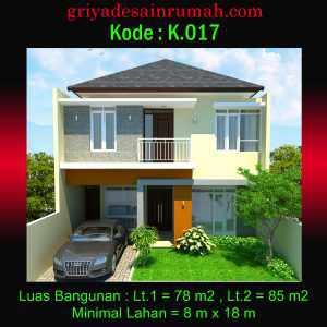 Desain Rumah Lebar 8 x 15 Meter 2 Lantai Minimalis