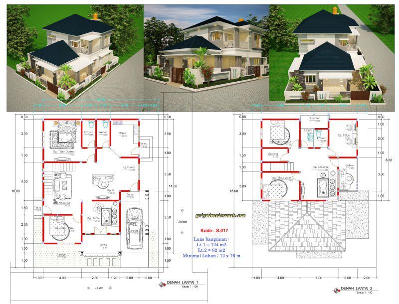 Rumah Mewah 2 Lantai Hook Lebar 12 Meter Jasa Desain Rumah
