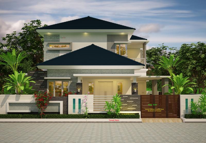 Desain Rumah Mewah 2 Lantai Hook Lebar 12 Meter