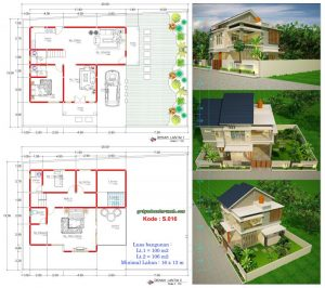 rumah 2 lantai lebar 16 x 13 m minimalis | jasa desain rumah