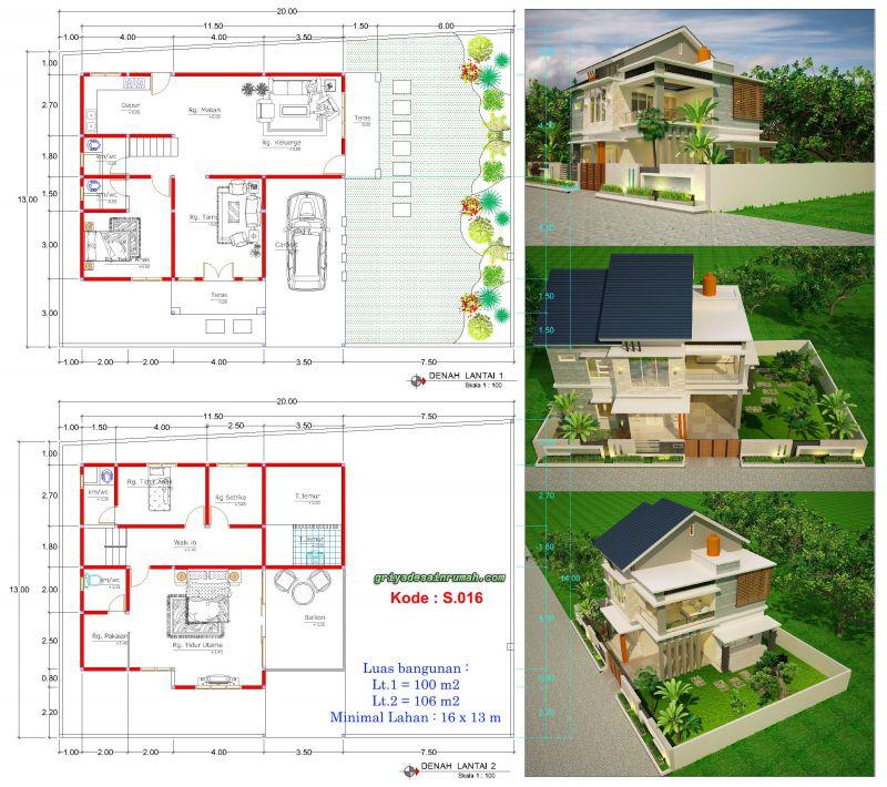 Gambar Denah Desain Rumah 2 Lantai Lebar 16 x 13 Meter 3 Kamar Tidur