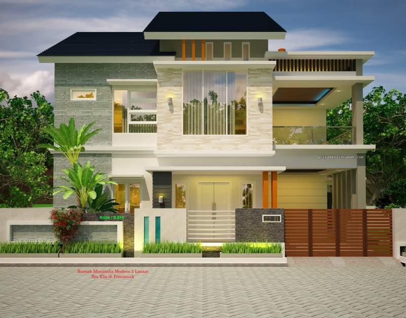 Gambar Desain Rumah 2 Lantai Lebar 16 Meter Minimalis Modern