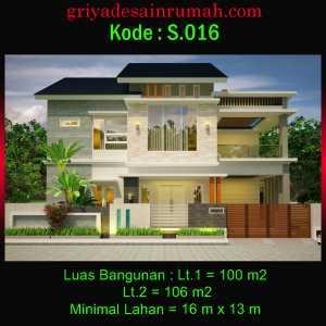 Rumah 2 Lantai Lebar 16 x 13 Meter Minimalis
