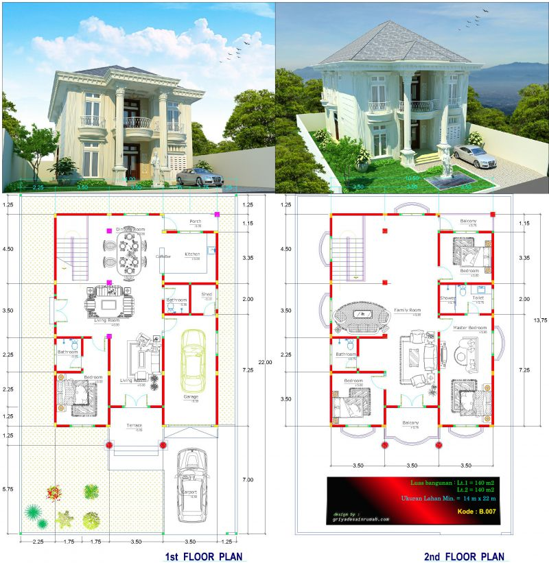 Denah Gambar Rumah Mewah Mediteran 2 Lantai 4 Kamar Tidur Lebar 14 Meter
