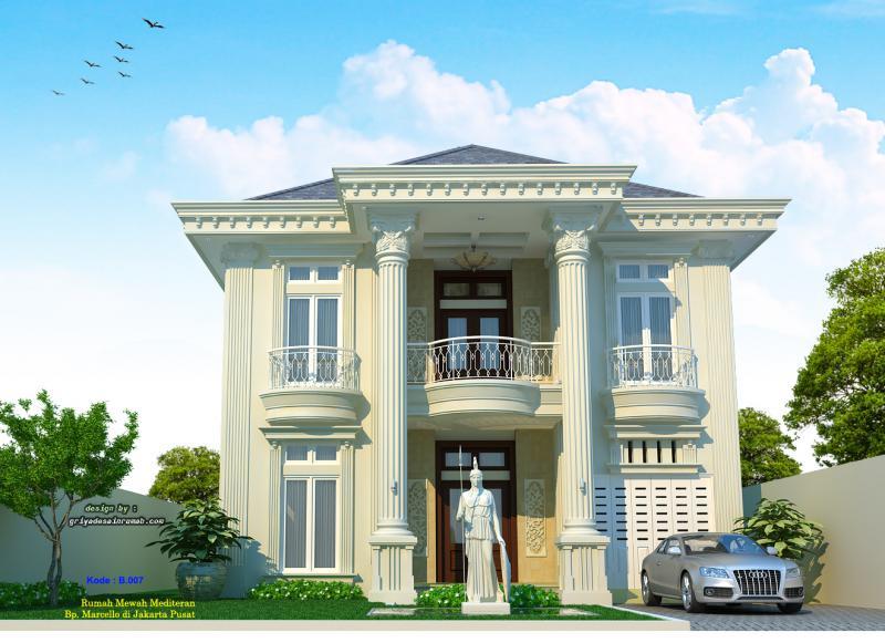 Desain Gambar Rumah Mewah Mediteran Eropa 2 Lantai