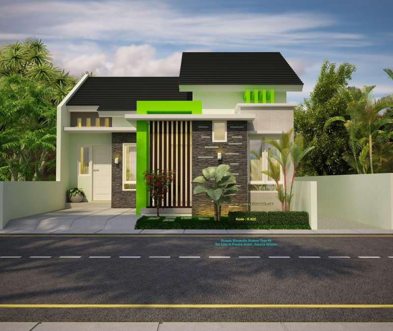 Desain Rumah 1 Lantai Type 65 Lebar 8 Meter Minimalis Modern