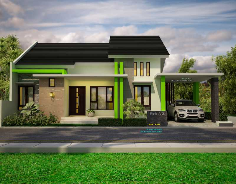Gambar Desain Rumah Minimalis Modern Ukuran Lebar 14x12 Meter 1 Lantai Hook