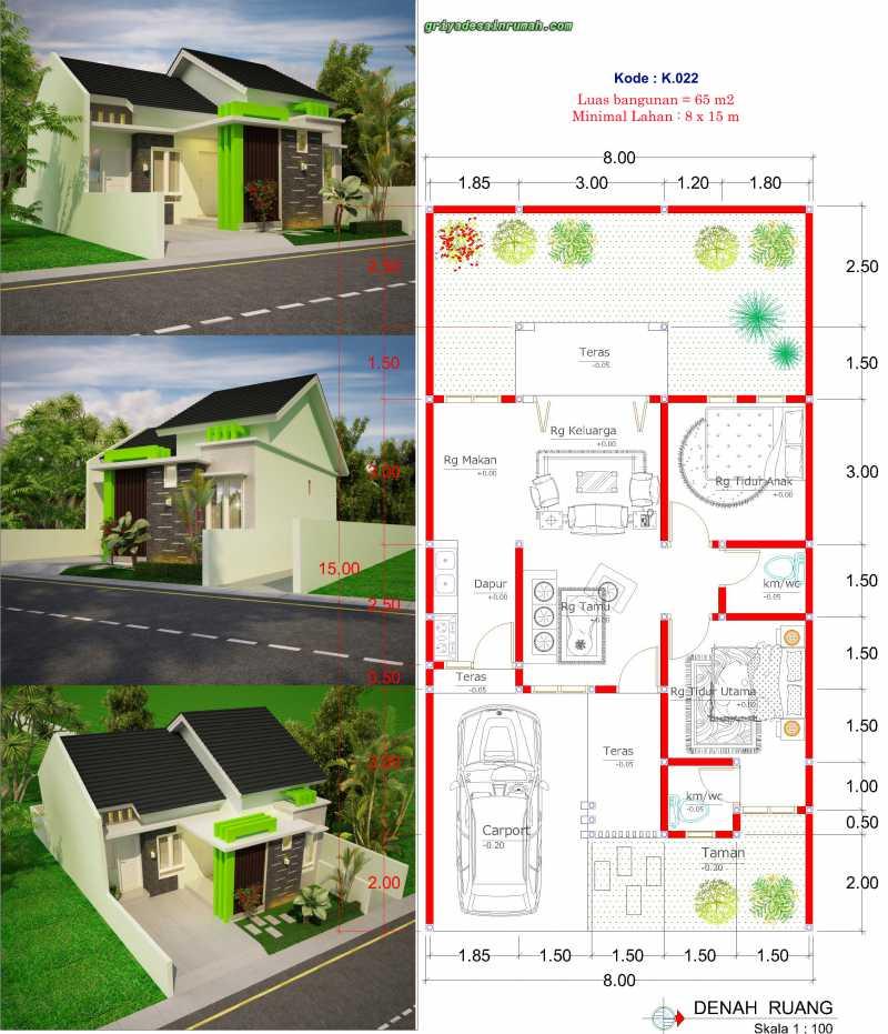 Gambar Denah Rumah 1 Lantai Type 65 Lebar 8 Meter 2 Kamar Tidur