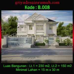 Rumah 2 Lantai Mewah Klasik Ukuran 15 x 30 Meter