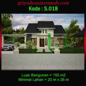Desain Rumah Type 150 Ukuran 12 x 14 Meter