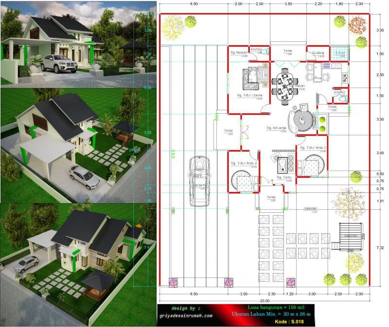 Gambar Denah Rumah Type 150 Ukuran 12 x 14 Meter 3 Kamar Tidur 1 Lantai