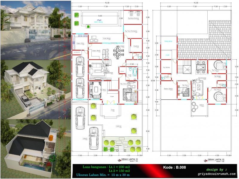 Rumah 2 Lantai Mewah Klasik Ukuran 15 X 30 Meter Jasa Desain Rumah