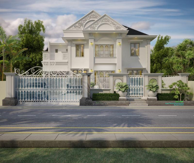 Gambar Desain Rumah 2 Lantai Mewah Klasik Modern Mediteranian Ukuran 15 X 30 Meter