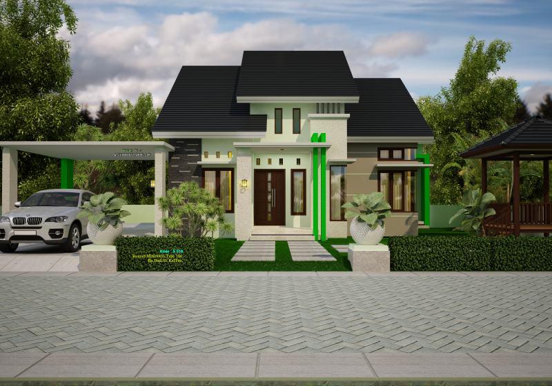 Gambar Desain Rumah Type 150 Ukuran 12 x 14 Meter Minimalis 1 Lantai