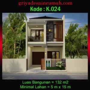 Denah Rumah Minimalis Lebar 5 x 15 Meter 2 Lantai