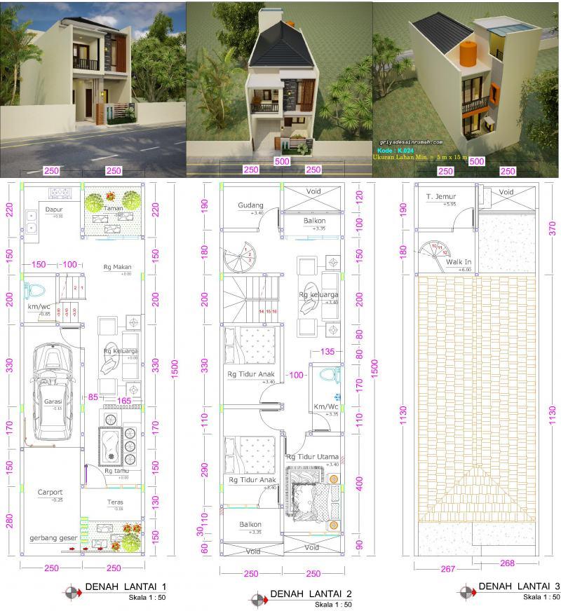 Gambar Denah Rumah Ukuran Lebar 5 x 15 Meter 2 Lantai 3 Kamar Tidur