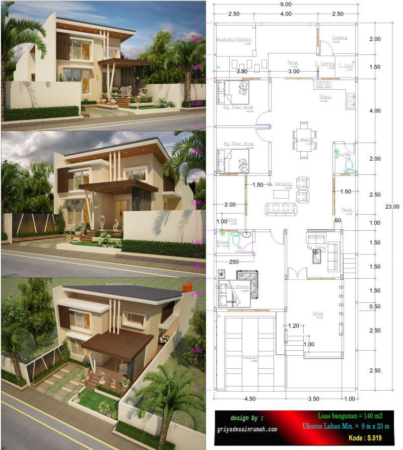 Gambar Denah Rumah 1 Lantai Type 140 3 Kamar Tidur Ukuran Lebar 9 x 23 meter