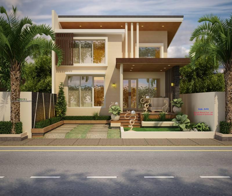 Gambar Desain Rumah Mewah Tropis Modern 1 Lantai Type 140 Natural