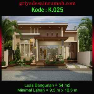Denah Rumah Type 54 Ukuran 9.5 x 10.5 meter