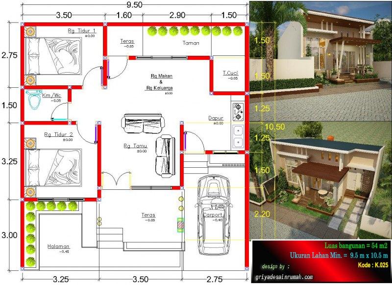 Gambar Denah Rumah 1 Lantai Type 54 Ukuran Lahan 9.5 x 10.5 Meter 2 Kamar Tidur