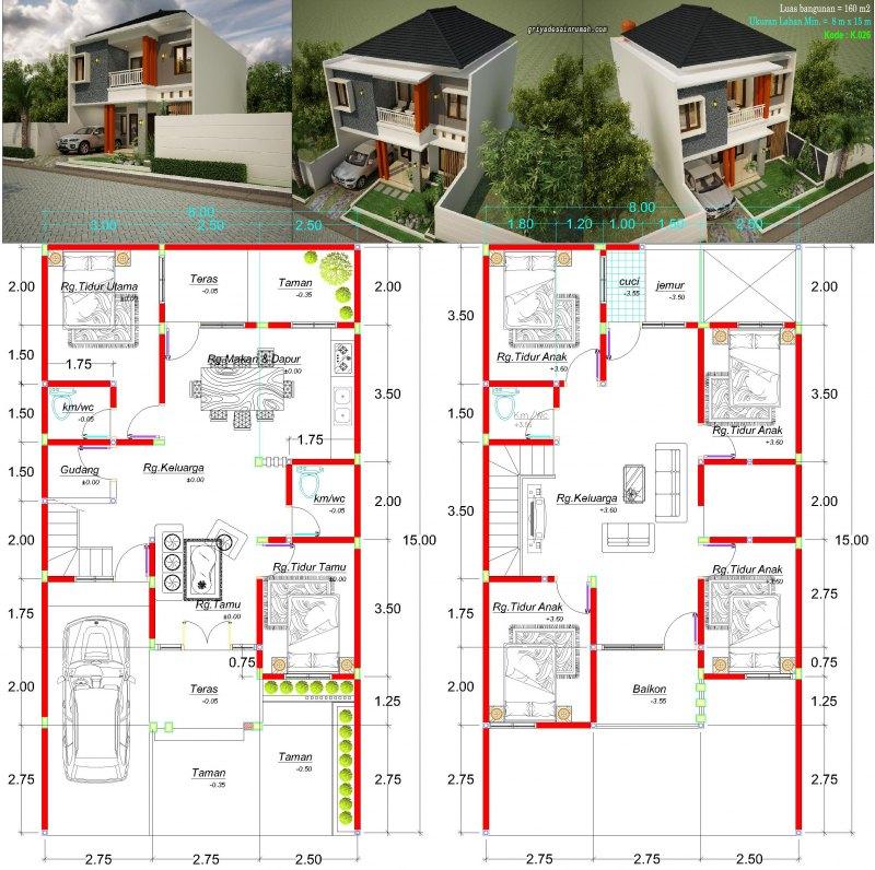 Gambar Denah Rumah 2 Lantai Ukuran Lahan Lebar 8 x 15 Meter 6 Kamar Tidur Type 160
